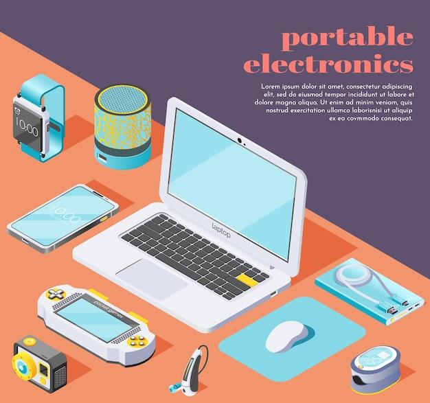 Ilustración isométrica de electrónica portátil con computadora, mouse, unidad flash, computadora portátil, teléfono inteligente, banco de energía, pulsera de fitness, cámara de acción de oxímetro