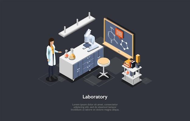 Ilustración isométrica de elementos de diseño de interior de laboratorio con personaje científico femenino en bata blanca