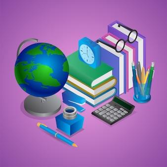 Ilustración isométrica de elementos de educación u oficina como globo terráqueo, libros, portalápices, calculadora, reloj despertador