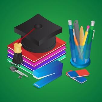 Ilustración isométrica de elementos educativos como gorro de graduación con libros, portalápices y grapadora