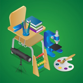 Ilustración isométrica de elementos educativos como silla escolar con libros, microscopio, telescopio, ábaco y pincel de dibujo