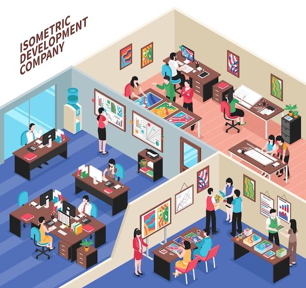 Ilustración isométrica de la empresa de desarrollo