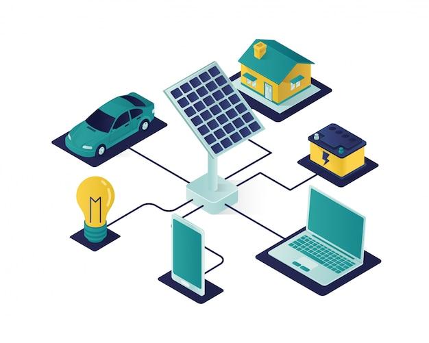 Ilustración isométrica de energía del panel solar