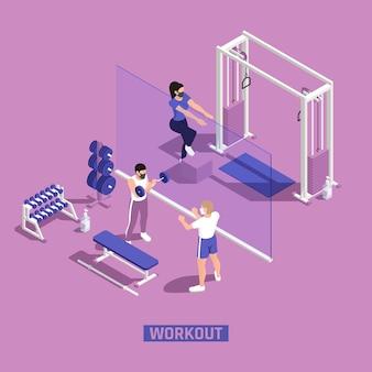 Ilustración isométrica de entrenamiento de fitness