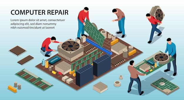 Ilustración isométrica del equipo de reparación del servicio de reparación