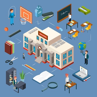 Ilustración isométrica de la escuela secundaria. edificio escolar 3d, aula, profesores, libros, papelería