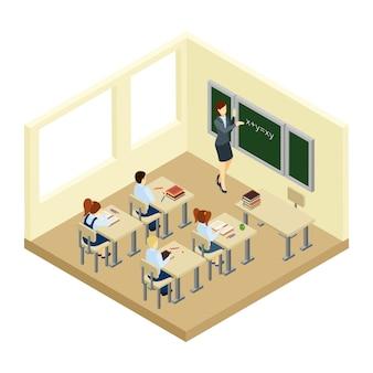Ilustración isométrica de la escuela
