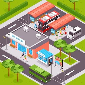 Ilustración isométrica de la estación de autobuses