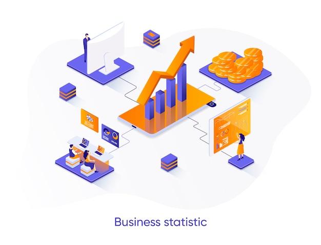 Ilustración isométrica de estadística empresarial con personajes de personas