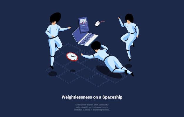Ilustración isométrica en estilo de dibujos animados 3d. ingravidez en nave espacial en azul oscuro.