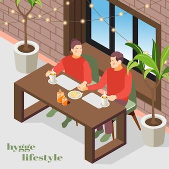 Ilustración isométrica de estilo de vida hygge con plantas de luces interiores de apartamentos acogedores daneses disfrutando de una pareja de café