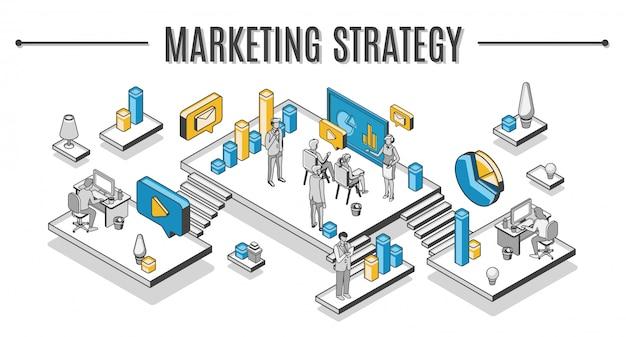 Ilustración isométrica de estrategia de marketing empresarial