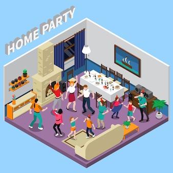 Ilustración isométrica de la fiesta en casa