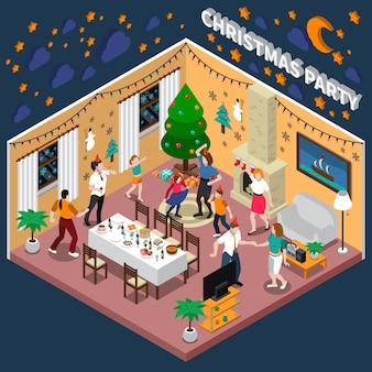Ilustración isométrica de fiesta de navidad