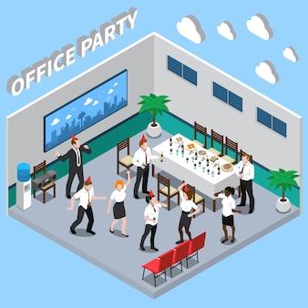Ilustración isométrica de fiesta de oficina