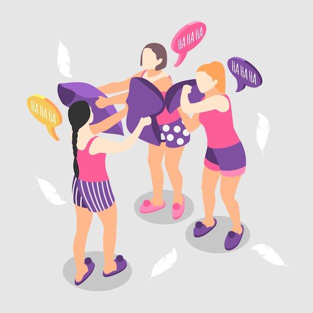 Ilustración isométrica de fiesta de pijamas