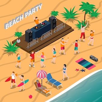 Ilustración isométrica de fiesta en la playa