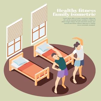 Ilustración isométrica de fitness familiar saludable con hermana y hermano haciendo ejercicios matutinos en el dormitorio