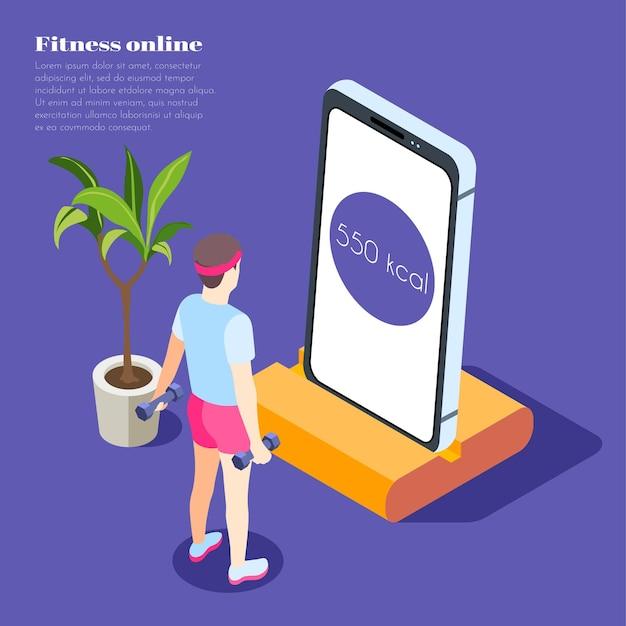Ilustración isométrica de fitness en línea con un joven sosteniendo pesas y mirando la pantalla del teléfono inteligente con la aplicación deportiva