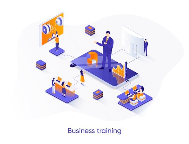 Ilustración isométrica de formación empresarial con personajes de personas.