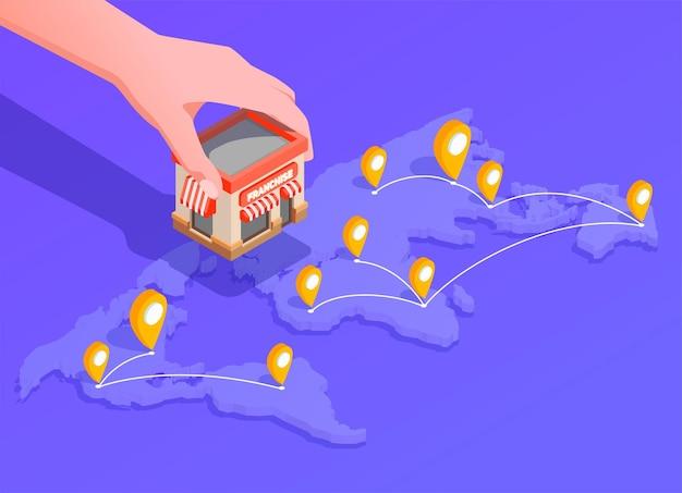 Ilustración isométrica de franquicia con ilustración de ubicación y finanzas