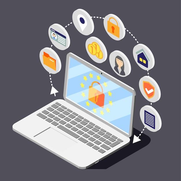 Ilustración isométrica de gdpr de protección de datos personales