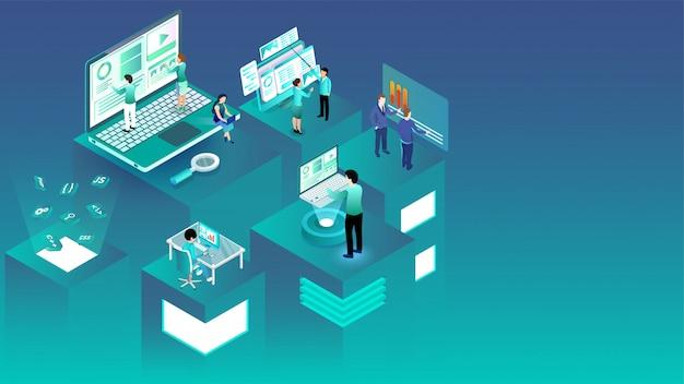 Ilustración isométrica de gente de negocios trabajando en diferentes plataformas.