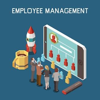 Ilustración isométrica de gestión de proyectos con empresarios y un teléfono inteligente