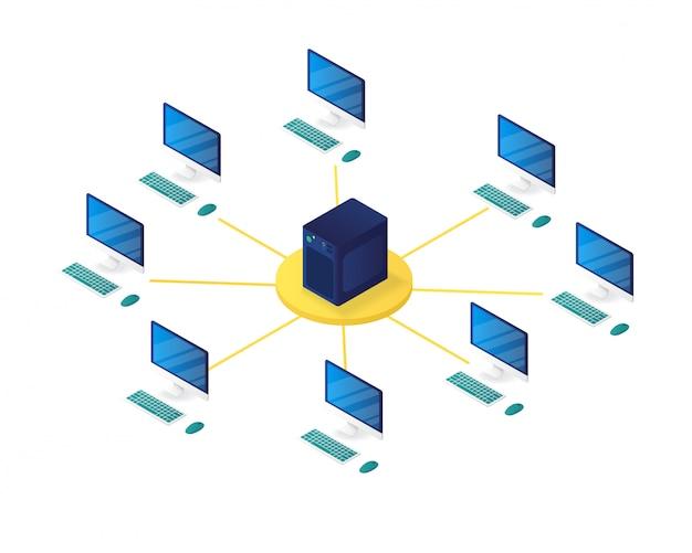 Ilustración isométrica de gestión de red informática