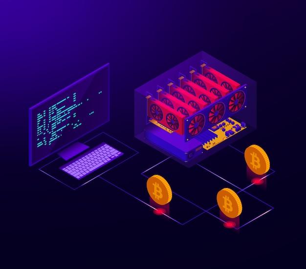 Ilustración isométrica de una granja de criptomonedas en funcionamiento para bitcoin.