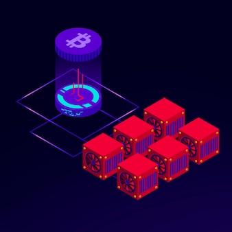 Ilustración isométrica de granja para minar bitcoin.