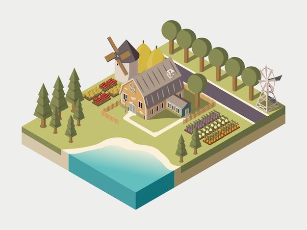 Ilustración isométrica de granja