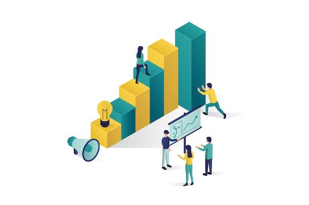 Ilustración isométrica un grupo de personas personajes están preparando un proyecto de negocio en marcha. ascenso de la carrera al éxito, isométrica comercial, análisis comercial