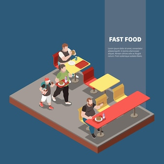 Ilustración isométrica de la gula con personas gordas en el restaurante de comida rápida 3d