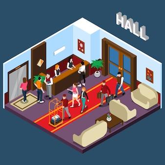 Ilustración isométrica del hall del hotel