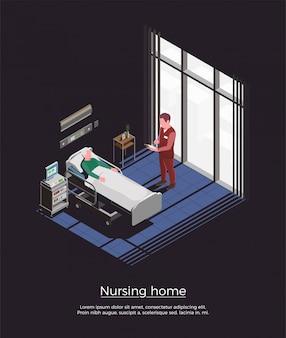Ilustración isométrica del hogar de ancianos con pacientes ancianos visitantes personales acostado en la cama