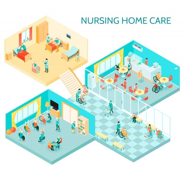 Ilustración isométrica de hogar de ancianos