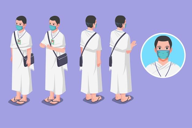 Ilustración isométrica del hombre musulmán hayy durante la pandemia
