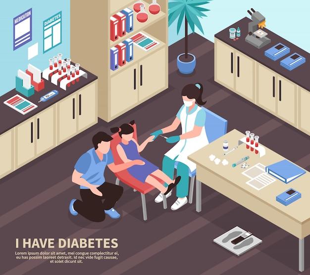 Ilustración isométrica del hospital de diabetes