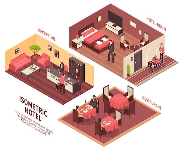 Ilustración isométrica del hotel