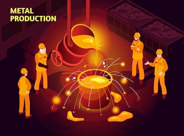 Ilustración isométrica de la industria del acero