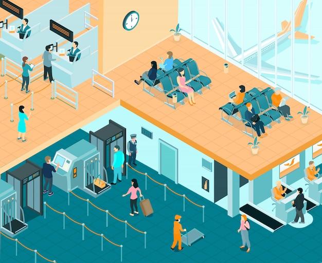 Ilustración isométrica interior del aeropuerto