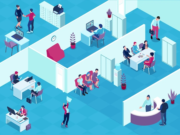 Ilustración isométrica interior de la agencia de contratación