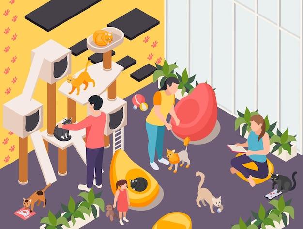 Ilustración isométrica interior del hotel y guardería de mascotas