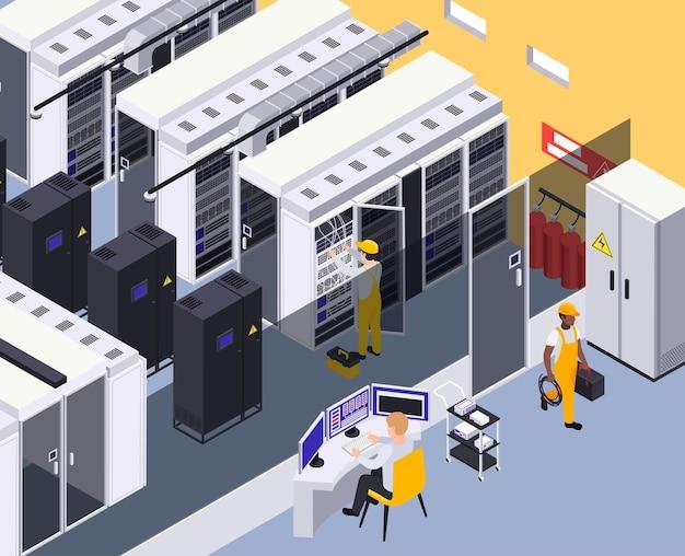 Ilustración isométrica interior de la instalación del centro de datos