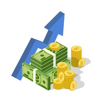 Ilustración isométrica de inversión empresarial