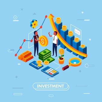 Ilustración isométrica de inversión inteligente