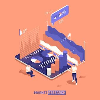 Ilustración isométrica de investigación de mercado
