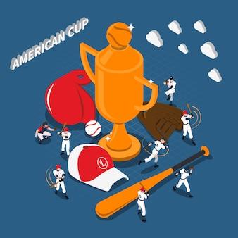 Ilustración isométrica del juego de béisbol de la copa americana