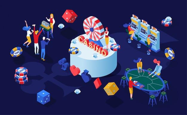 Ilustración isométrica de juegos de apuestas de casino